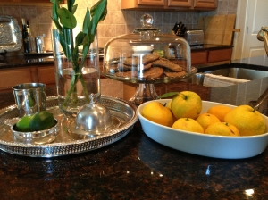Oranges in bowl in kitchen