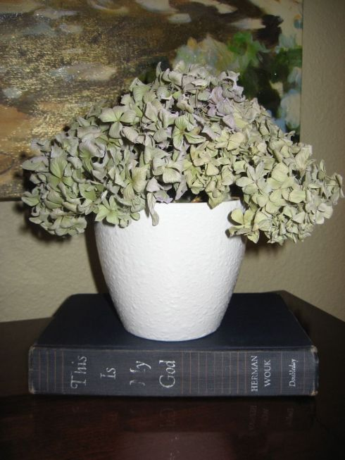 Dried Hydrangeas on White Pot